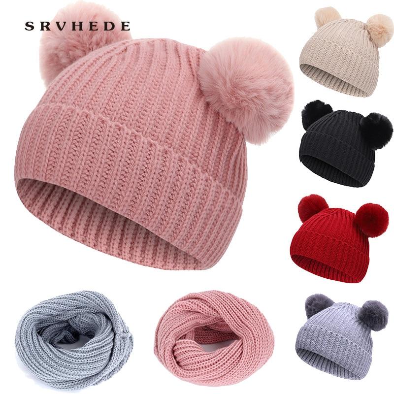 2019 New 2 Piece Winter Hat Hat Scarf Fur Baby Hat Hat Cotton Pom Pom Knit Warm Hat Kid Furry Ball Hat Set Hat