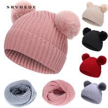 2019 new 2 Piece Winter Hat Scarf Fur Baby Cotton Pom Knit Warm Kid Furry Ball Set