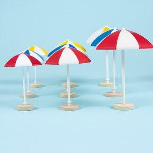 3 Color Beach Sun Mini Umbrella Miniature PVC Landscape Bonsai Fairy Ornament Modern Dollhouse Micro Landscape Decoration(China)