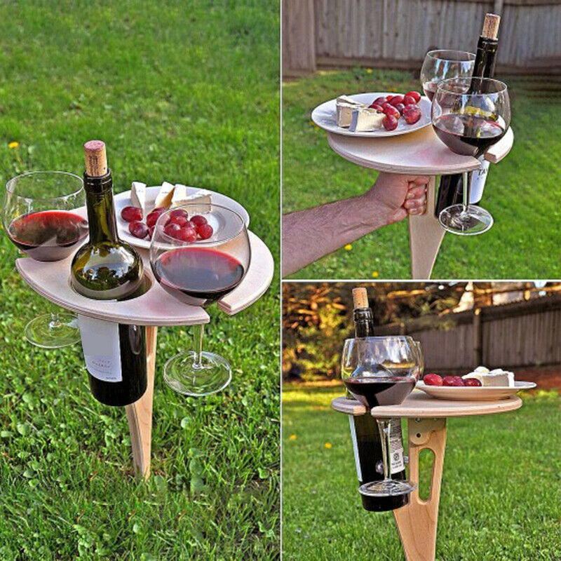 Outdoor Portable Wine Table With Foldable Round Desktop Camping Table Wooden Picnic Table Easy To Carry Garden Furniture Sets