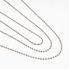 10 pcs / lot Bead Chain necklace 60cm alloy Round Beads Long Necklaces