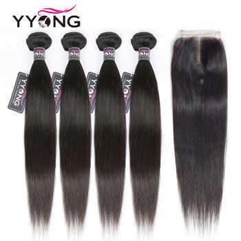 Yyong Straight Hair Bundles With Closure Brazilian Hair Weave Bundles 100% Human Hair Extension 3 Or 4 Bundles With Closure Remy - DISCOUNT ITEM  50% OFF All Category