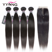 Yyong Straight Hair Bundles With Closure Brazilian Hair Weave Bundles 100% Human Hair Extension 3 Or 4 Bundles With Closure Remy