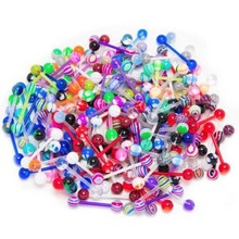 10pcs Mix Style barbell bar tongue piercing rings stainless steel mixed candy colors men women body jewelry