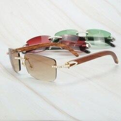 Vintage Shinning Diamant Sonnenbrille Männer Strass Shades für Frauen Lentes De Sol Mujer Luxus Holz Carter Brillen für Hochzeit