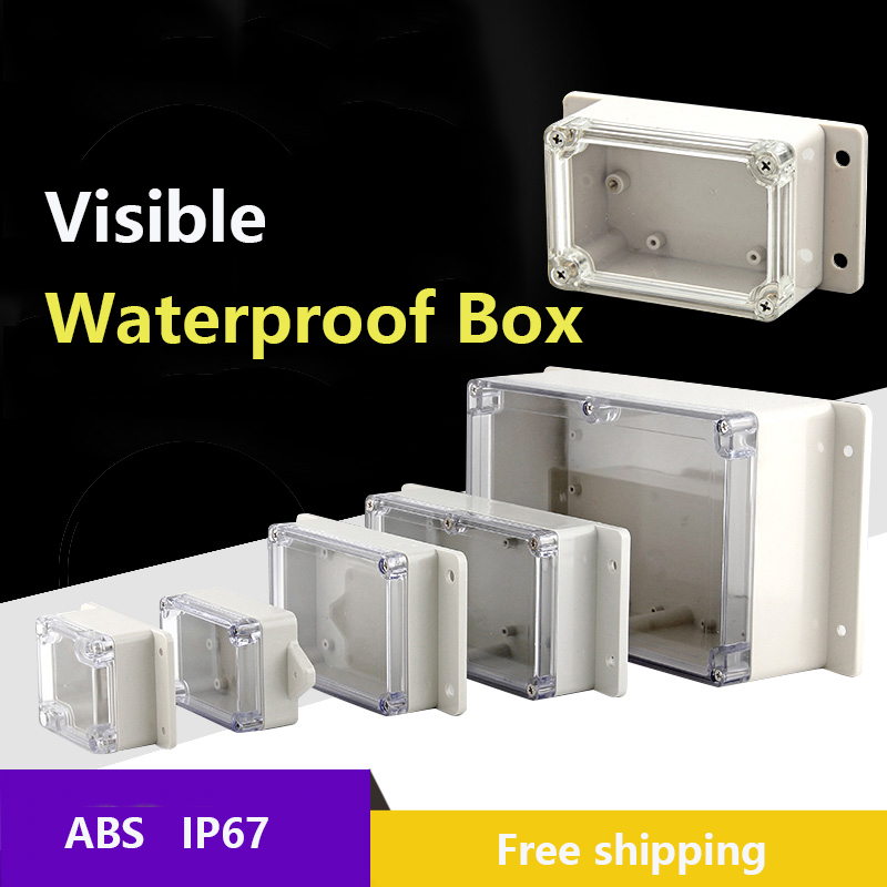Waterproof Electronic Watertight Enclosure Box ABS Visible Wire Junction Box IP67 Transparent Safe Case Plastic Boxes Organizer