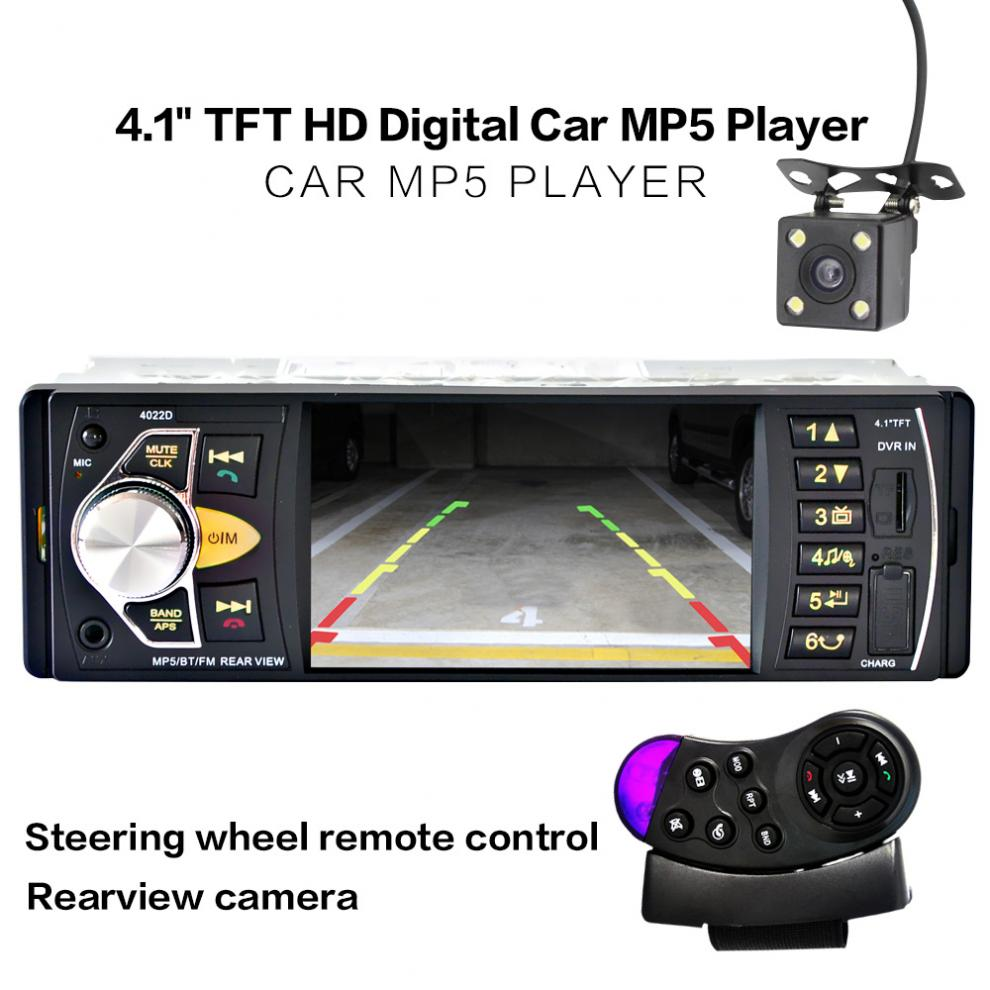 4.1 pouce 1 Din HD Bluetooth autoradio Auto MP3 MP5 lecteur Audio prise en charge USB FM TF AUX + caméra de recul arrière de sauvegarde