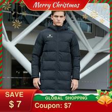KELME Men Winter Jacket Long Solid Sports Training Coat Male Overcoat Outrwear Warm Cotton Padded Winter Coat Men Women 3881406