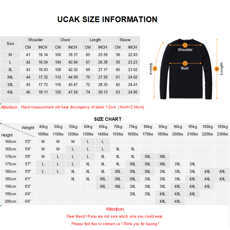 Image 5 - UCAK Brand Pure Merino Wool Sweater Men 2019 New Arrival Autumn 