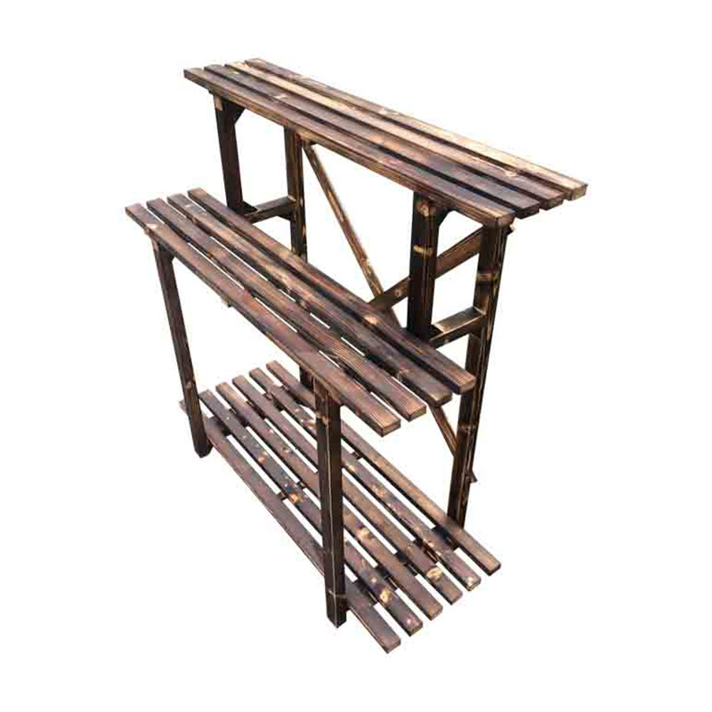 Countryside Carbonization Anticorrosive Woodiness Outdoors Ladder Frame Indoor Multi-storey Solid Wood Airs  Flower Rack