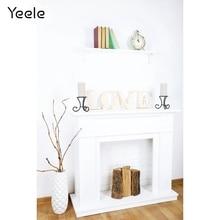Photographic Backdrops Plants-Fireplace Interior Wall-Shelf Customized Yeele White Love
