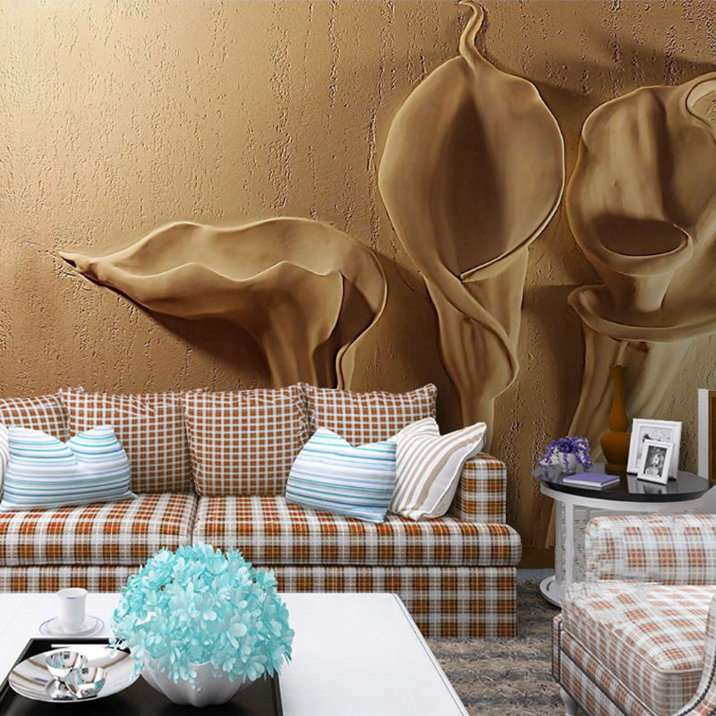 2020 New Custon Any Size 3D Wallpaper Gold Emboss Calla Lily Modern Abstract Art Living Room Bedroom Decoration Waterproof Mural