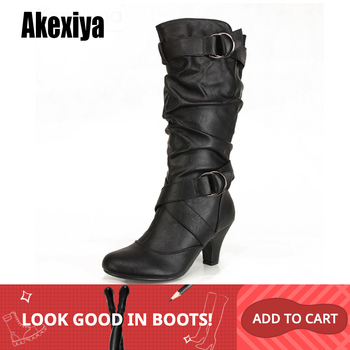 2019 Fashion Mid Calf Spike High Heels White Black Ridding Western Boots Street Goth Ladies Shoes Plus Size Womens Boot 1