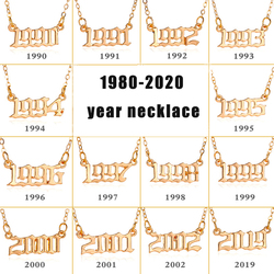 Personalize Year Number Necklaces for Women Custom Year 1980 1989 2000 Birthday Gift from 1980 to 2020