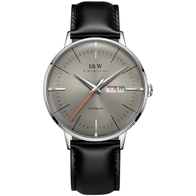 Montre homme marca de luxo i & w moda automática mecânica wach men japão miyota movimento relógios safira calendário à prova dwaterproof água