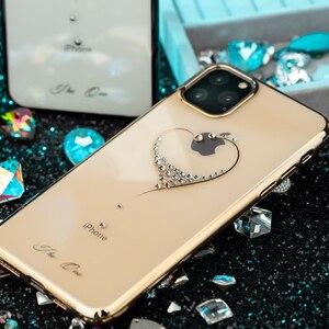 Image 3 - Kingxbar embelezado cristais caso para iphone 11/pro/max luxo coração strass diamante banhado a disco claro caso capa