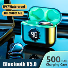 TWS Bluetooth 5.0 Earphones Wireless Headphones LED Display With Microphone Sports Waterproof Headphone Headsets Touch Control(China)