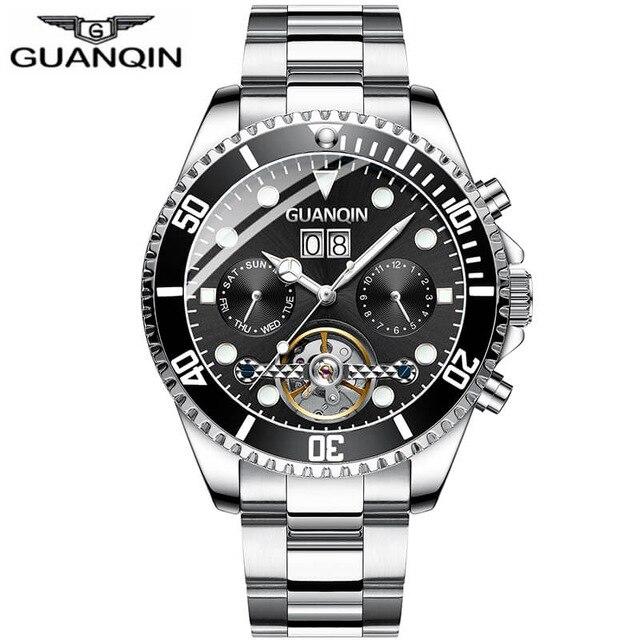 GUANQIN Mechanical Watch Men Skeleton Tourbillon style Role Automatic Watch Waterproof Skeleton Tourbillon Automatic Watch Water