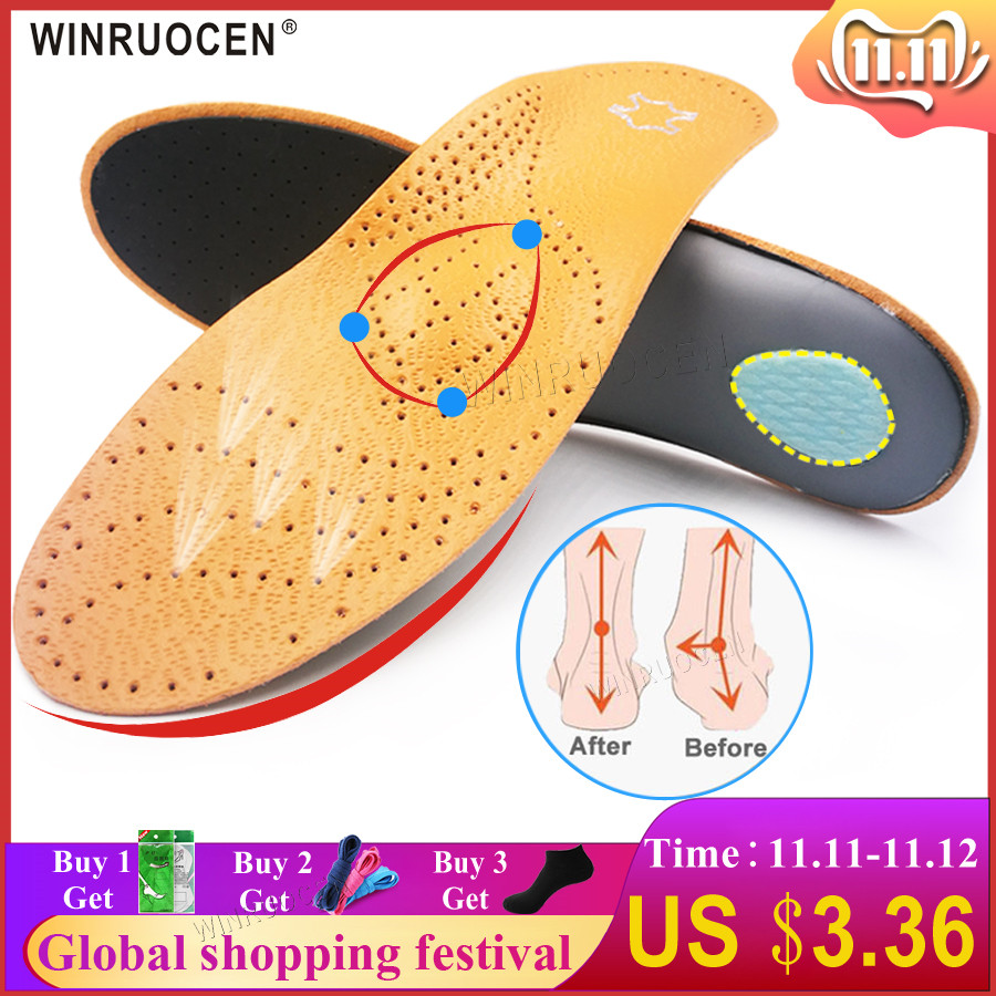 WINRUOCEN High Quality Leather Orthotic Insole For Flat Feet Arch Support Orthopedic Shoes Sole Insoles For Men And Women Insert