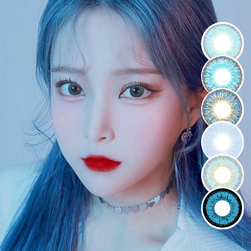 Blue Contacts 2020 NEW HIDIROCOR Two Piece Colored Contacts Beautiful Pupil Color Contact Lenses Contact Lenses For Eyes Color