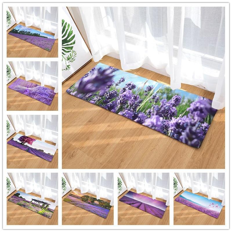 Lavender Living Room Kitchen Bathroom Absorbent Mat Carpet Flannel Bedroom Mat Door Mat