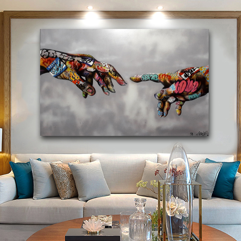 Abstract Art Hand of God Classic Street Art Prints Pictures For Living Room Canvas Prints Modern Decorative Painting in Painting Calligraphy from Home Garden