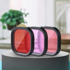 Image 2 - Kit de 3 filtros para cámara GoPro HERO 8, lentes de esnórquel de Color rojo y Magenta, accesorios de funda carcasa originales