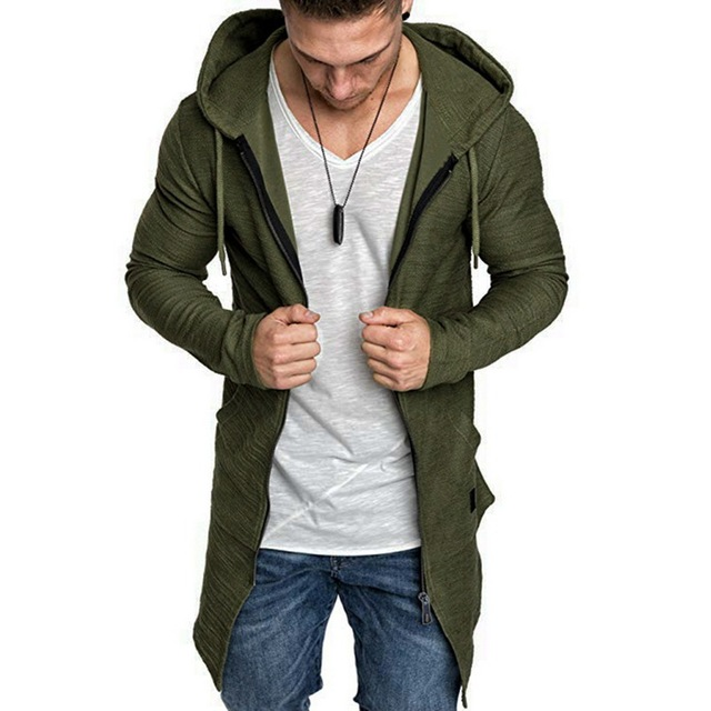 2019 Men's Hooded Long Trench Coat Autumn Winter Fashion Solid Tops Streetwear Irregular Men Casual Slim Fit Jacket Overcoat