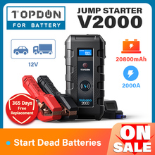 TOPDON V2000 Car Jump Starter 20800mAh 12V 2000A Peak Emergency Starter Wireless Charger Power Bank Booster Start Device