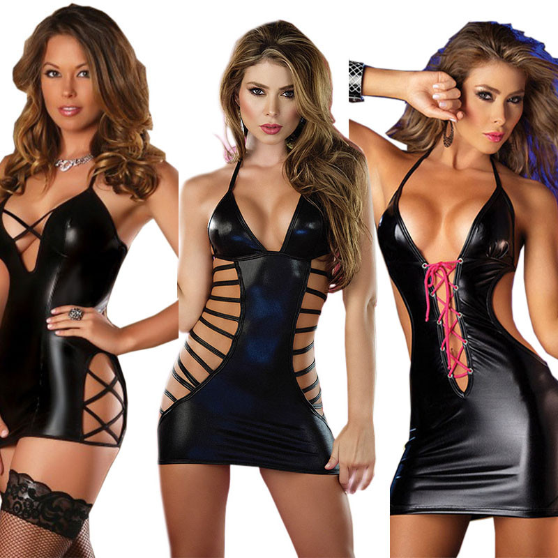 Sexy Lingerie Hot PVC Leather Babydoll Women's Sexy Underwear Porno Lenceria Sexy Costumes Pole Dance Erotic Lingerie Sex Dress