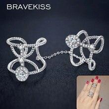 BRAVEKISS ur полные, кольца на палец с цепочкой для женщин cz камень braid разомкнутые кольца строки диапазона костяшки кольца, ювелирные изделия BUR0267