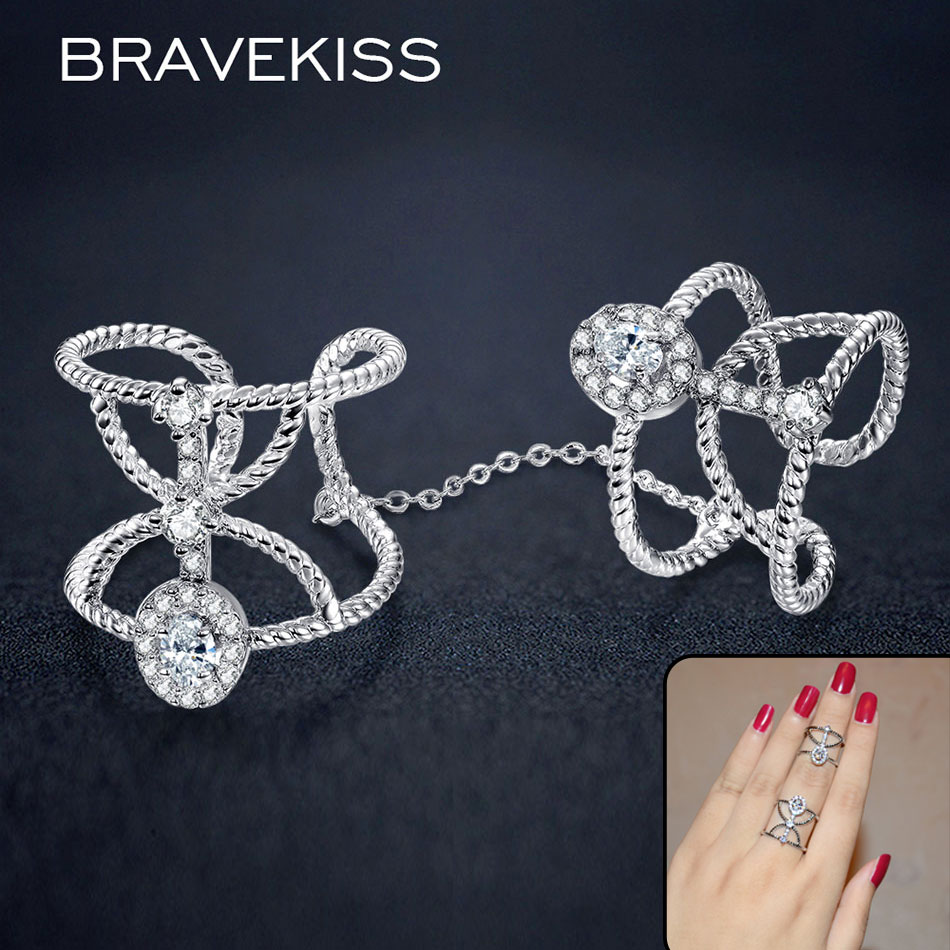 BRAVEKISS ur full finger rings with chain for women cz stone braid open rings row knuckle band anillos mujer jewelry BUR0267