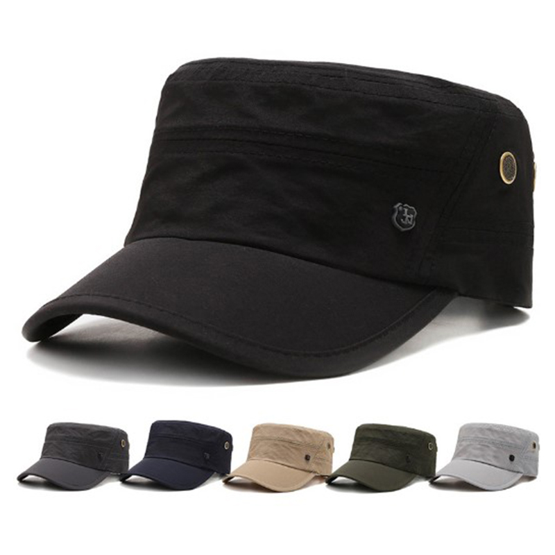 Casual Military Hats For Men Women Flat Top Military Cap Spring Summer Army Cap Solid Sun Hat Adjustable