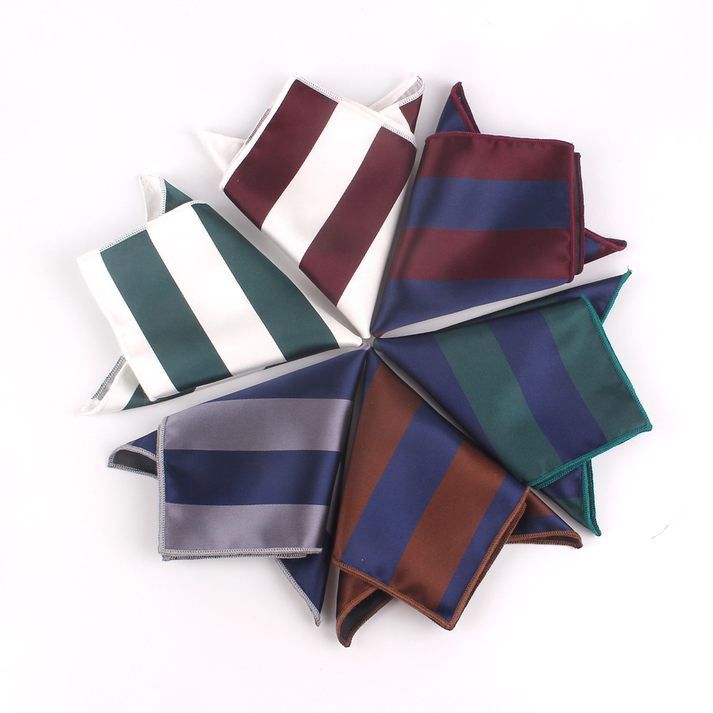 Fashion Striped Pocket Square For Men Women Jacquard Chest Towel Hanky Gentlemen Hankies Men's Suits Handkerchief Pocket Towel