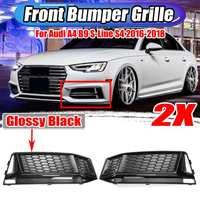 A Pair Car Front Fog Light Grill Grille Lamp Cover Honeycomb Hex For Audi A4 B9 S Line S4 2016 2018 8W0807681K 8W0807682K