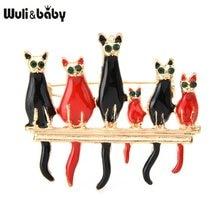 Wuli ve bebek 6-kat ayakta şube broş kadınlar alaşım kediler aile arkadaşlar emaye hayvan düğün ziyafet broş Pins
