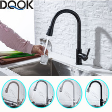Kitchen Faucet Tap Brushed Water-Mixer Single-Handle Blacked White Pull-Down 360-Degree