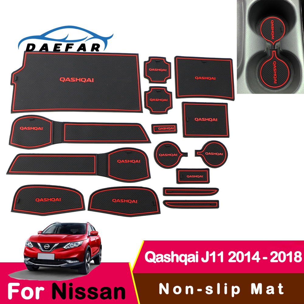 For Nissan Qashqai J11 2014 - 2018 Rubber Mat Door Mat Anti-slip Cup Pad Interior Decoration Accessory Styling Gate Slot Pad