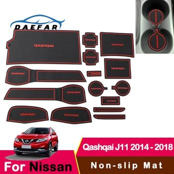 Para Nissan Qashqai J11 2014-2018 alfombrilla de goma alfombrilla de puerta antideslizante almohadilla de taza decoración Interior estilo accesorio puerta almohadilla ranura de