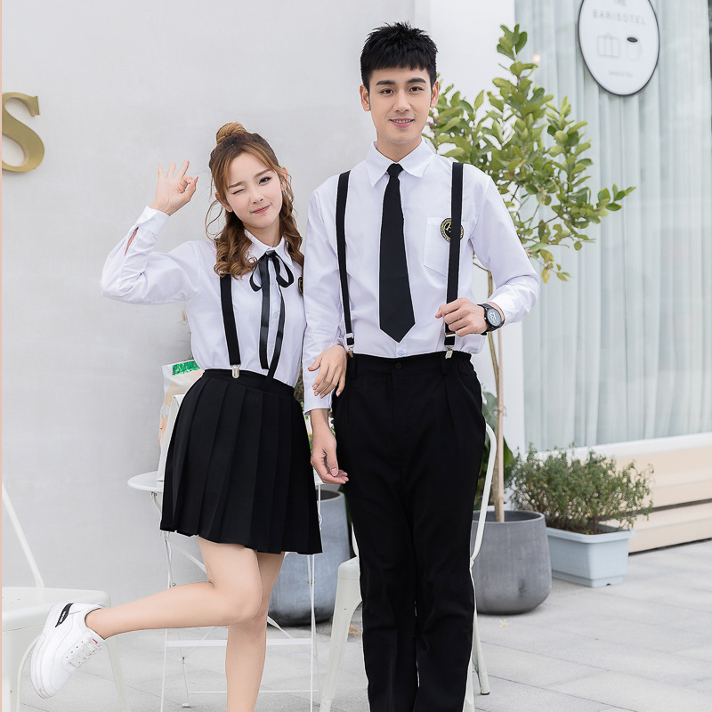 School Uniform England College Style Korean-style Men And Women Summer Long Shirt Business Attire High Students Sailor Suit Stra
