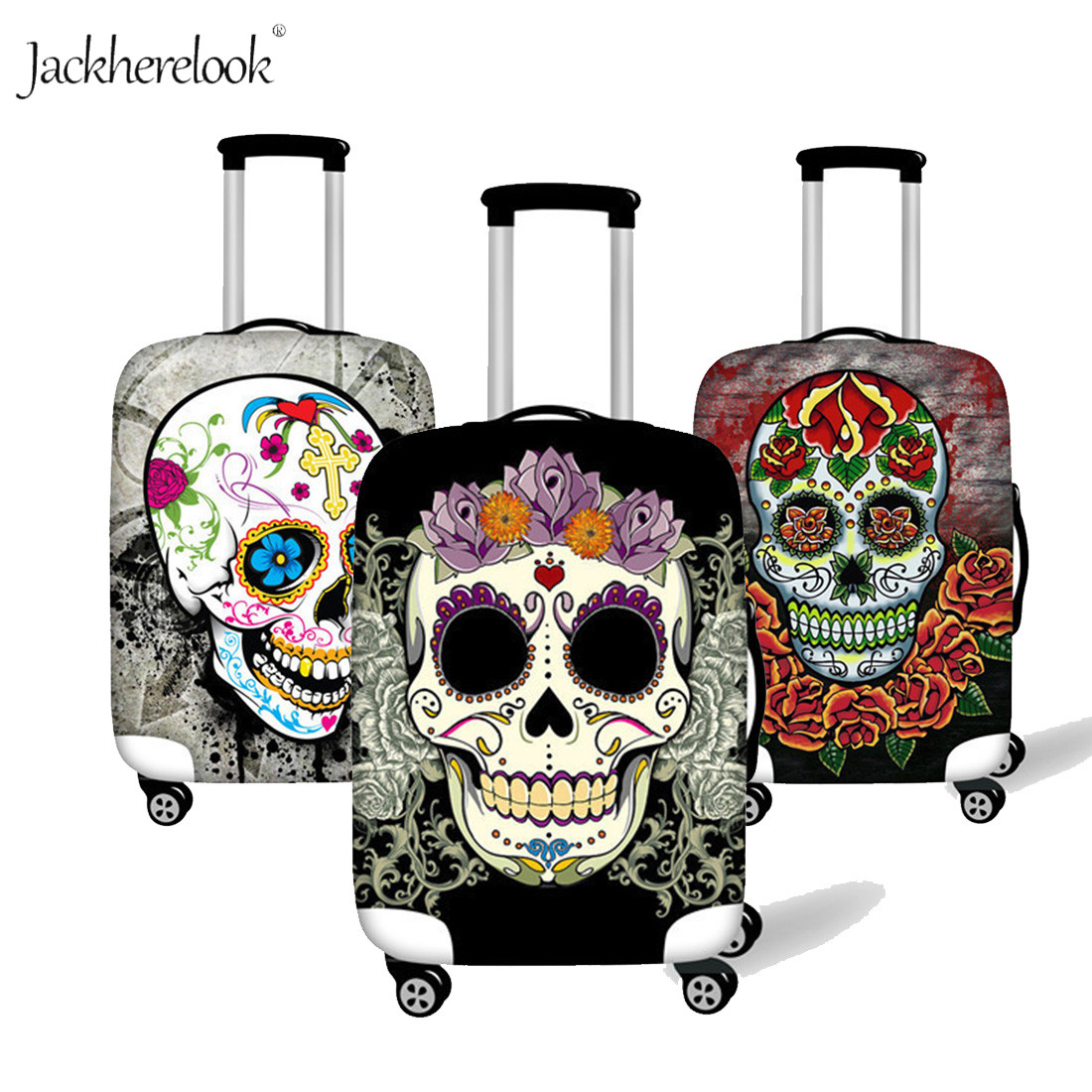 Jackherelook Cool Sugar Skull Baggage Bag Cover Dust Rain Proof Case For 18-32 Inch Luggage Bag Flower Travel Protective Trunk