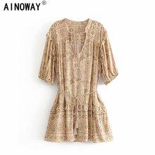 Vintage chic women floral print half sleeve tassel ruffles beach  Bohemian mini dresses  Ladies loose v neck rayon Boho dress