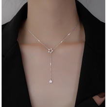 Christmas Gift 925 Sterling Silver Cute Shiny Star Choker Drop Charm Necklaces Charming Woman Wedding Party Birthday Jewelry