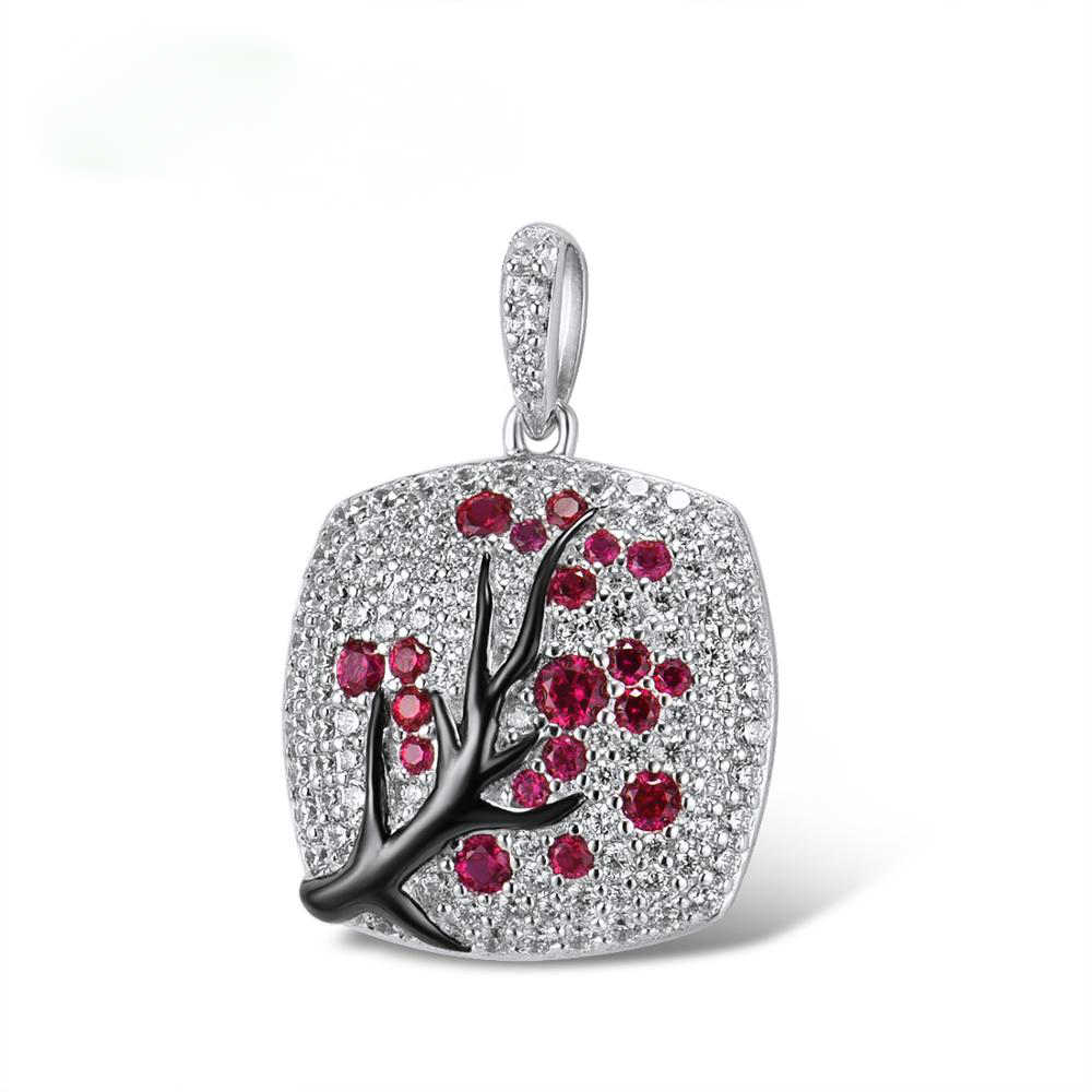 Fine Jewelry red zircon Leaves branch Pendant For Women branch Sparkling Pink Cherry Tree CZ Delicate Fashion