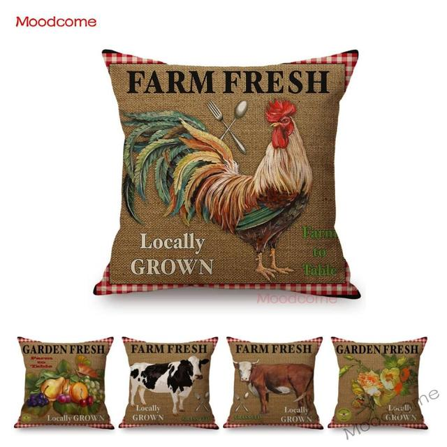 Vintage Farm Life Rooster Cow Vegetable Fruits Farm Fresh Art Home Decor Pillow Cover Relaxed Leisure Rural Life Cushion Covers