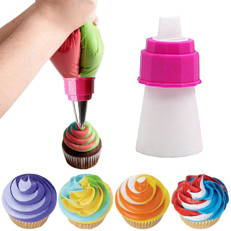 1Pc Icing Piping Bag Nozzle Converter Tri-color Cream Coupler Pastry Nozzles Adaptor DIY Cup Cake Baking Decorating Tips Set