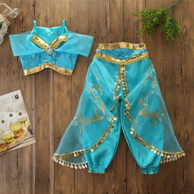 Costume de princesse Cosplay pour filles   Tenue fantaisie en Satin bleu mer, ensemble 2 pièces, haut court + pantalon, sequins, Costume de fête