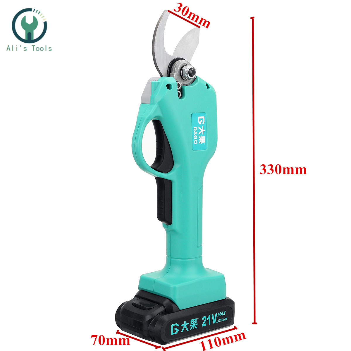 21V Wireless and Rechargeable Electric Garden Scissors for Pruning Branches with 30mm Maximum Cutting and 2 Li-ion Battery 4
