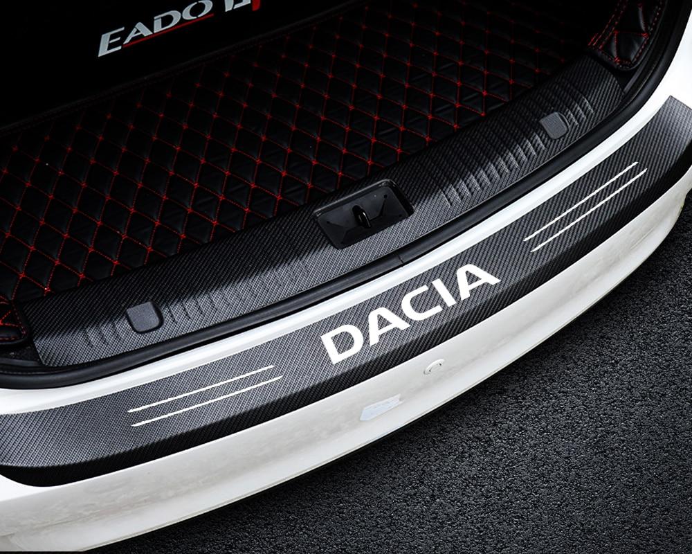 Car Styling Emblem Carbon Fiber Trunk Rear Guard Bumper Plate Protector Sticker For Dacia Duster Logan Sandero 2 Dokker