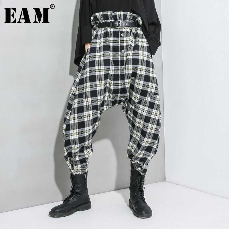 [EAM] High Elastic Waist Black Plaid Stitch Long Harem Trousers New Loose Fit Pants Women Fashion Tide Spring Autumn 2020 1R940